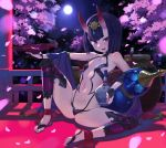 1girl :d ankle_ribbon arm_up ass black_gloves breasts bridal_gauntlets cherry_blossoms circlet commentary cup eyebrows_visible_through_hair eyeliner fangs fate/grand_order fate_(series) fingerless_gloves full_moon gloves gourd groin highres horns japanese_clothes kylin looking_at_viewer makeup moon navel night oni_horns open_mouth outdoors petals purple_hair revealing_clothes ribbon sakazuki short_hair shuten_douji_(fate/grand_order) small_breasts smile solo spread_legs thigh-highs toeless_legwear violet_eyes