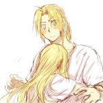 1boy 1girl blonde_hair blush couple edward_elric expressionless eyebrows_visible_through_hair facing_away fingernails fullmetal_alchemist height_difference hetero hug long_hair looking_at_another looking_down ponytail shirt simple_background tsukuda0310 white_background white_shirt winry_rockbell yellow_eyes