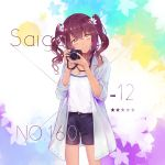 1girl alternate_costume bangs blue_coat blue_nails blue_shorts blush breasts camera canon_(company) character_name chinese_commentary cleavage closed_mouth coat commentary_request cowboy_shot dark_skin eyebrows_visible_through_hair flower girls_frontline hair_between_eyes hair_flower hair_ornament hair_tie head_tilt holding holding_camera large_breasts long_hair looking_at_viewer nail_polish open_clothes open_coat purple_hair saiga-12_(girls_frontline) shirt shorts sidelocks solo thighs white_nails white_shirt yellow_eyes yuizayomiya