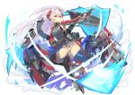 1girl ao_(1234painter) azur_lane black_panties cannon commentary_request energy_shield full_body garter_straps gloves grey_hair highres iron_cross long_hair long_sleeves orange_eyes panties parted_lips prinz_eugen_(azur_lane) rigging solo thigh-highs turret two_side_up underwear white_background