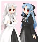 2girls black_bow black_dress blue_hair bow crossed_arms dress hair_bow hekikuu_(kanaderuyume) highres len long_hair looking_at_viewer melty_blood multiple_girls pink_background pointy_ears red_eyes silver_hair tsukihime white_bow white_dress white_hair white_len