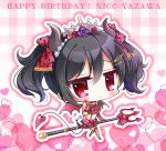 1girl bangs bare_shoulders big_head black_hair blush bow character_name chibi closed_mouth commentary_request curled_horns demon_girl demon_horns demon_tail demon_wings elbow_gloves eyebrows_visible_through_hair fishnet_legwear fishnets floral_print flower full_body gloves grey_wings hair_between_eyes hair_bow hair_flower hair_ornament hand_up happy_birthday heart heart_background horns looking_at_viewer love_live! love_live!_school_idol_project midriff navel pink_flower pink_gloves pink_rose plaid plaid_background pleated_skirt polearm polka_dot polka_dot_bow print_skirt purple_flower purple_rose red_bow red_eyes red_flower red_rose red_skirt rose rose_print ryuuka_sane sidelocks skirt smile solo striped tail thigh-highs tiara trident twintails vertical-striped_gloves vertical_stripes weapon wings yazawa_nico