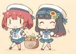 2girls :3 adapted_costume basket beige_background bike_shorts black_hair black_legwear blonde_hair blue_neckwear blue_ribbon blue_sailor_collar blue_skirt bob_cut braid buttons carrot chibi closed_eyes etorofu_(kantai_collection) eyebrows_visible_through_hair flower full_body gloves gradient_hair hair_flower hair_ornament hairband hanomido hat kantai_collection kneehighs long_hair matsuwa_(kantai_collection) multicolored_hair multiple_girls neckerchief onion pleated_skirt potato purple_hair redhead ribbon sailor_collar sailor_hat school_uniform serafuku shorts shorts_under_skirt side_braid simple_background skirt sunflower thick_eyebrows twin_braids white_gloves white_hat white_legwear |_|