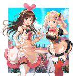 2girls a.i._channel absurdres animal_ears apron bangs black_neckwear blue_eyes bow bowtie breasts brown_hair cake cat_ears claw_pose cleavage commentary_request cup d-pad d-pad_hair_ornament day detached_collar detached_sleeves drinking_glass drinking_straw fake_animal_ears flower food grey_hair hair_ornament hair_ribbon hairpin hand_up highlights highres holding holding_tray kaguya_luna kaguya_luna_(character) kizuna_ai looking_at_viewer maid maid_headdress medium_breasts multicolored_hair multiple_girls obi orange_juice outdoors pink_neckwear pink_ribbon pink_skirt red_legwear ribbon sailor_collar sash short_sleeves sidelocks skirt skirt_hold striped_neckwear table thigh-highs tokkyu_(user_mwwe3558) tray twintails virtual_youtuber waist_apron white_apron white_legwear wrist_cuffs