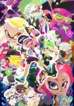 3d_rod! 6+girls absurdres agent_8 aori_(splatoon) beanie beard commander_atarime dj_takowasa dual_persona dual_wielding everyone facial_hair fangs glasses hat highres hime_(splatoon) holding hotaru_(splatoon) iida_(splatoon) inkling jajji-kun_(splatoon) japanese_clothes kimono kojajji-kun_(splatoon) looking_at_viewer multiple_girls octarian octoling open_mouth oriental_umbrella salmonid short_shorts shorts smile splat_dualies_(splatoon) splatoon splatoon_2 splatoon_2:_octo_expansion splattershot_(splatoon) squidbeak_splatoon sunglasses tank_top tentacle tentacle_hair umbrella