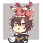 1boy annoyed brown_eyes brown_hair coffee cup dragon fingerless_gloves gloves granblue_fantasy hood hoodie peki_gbf red_eyes sandalphon_(granblue_fantasy) steam vee_(granblue_fantasy) wavy_mouth wings