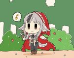 1girl animal_ears black_hair black_ribbon bone brown_eyes brown_gloves bush cape chibi closed_mouth corset day fire_emblem fire_emblem_if flyer_27 gloves grey_hair holding holding_bone hood hood_up long_sleeves multicolored_hair musical_note red_cape red_hood ribbon smile solo spoken_musical_note standing tail tree twitter_username two-tone_hair velour_(fire_emblem_if) wolf_ears wolf_tail