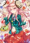 1girl animal_ears animalization aqua_shirt black_hat blue_flower bow breasts cat cat_ears cat_tail circle collarbone commentary_request cowboy_shot eyebrows_visible_through_hair flower green_cat green_eyes hair_between_eyes hand_up hat hat_bow hata_no_kokoro highres holding_tail kemonomimi_mode komeiji_koishi long_hair long_sleeves looking_at_viewer lying mask mask_on_head medium_breasts moai21 mushroom navel neck_ribbon on_back parted_lips petals pink_eyes pink_hair plaid plaid_shirt purple_flower purple_neckwear purple_ribbon red_flower red_skirt ribbon shirt skirt solo star tail thighs third_eye touhou triangle very_long_hair white_flower wing_collar x yellow_bow