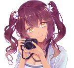 1girl alternate_costume bangs blue_coat blue_nails blush breasts camera canon_(company) cleavage closed_mouth coat dark_skin eyebrows_visible_through_hair flower girls_frontline hair_between_eyes hair_flower hair_ornament hair_tie head_tilt holding holding_camera large_breasts long_hair looking_at_viewer nail_polish open_clothes open_coat purple_hair saiga-12_(girls_frontline) shirt sidelocks simple_background solo white_background white_nails white_shirt yellow_eyes yuizayomiya