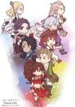 4boys 4girls alfyn_(octopath_traveler) amkwa bah blonde_hair bracelet braid brown_hair chibi cyrus_(octopath_traveler) dancer everyone gloves green_eyes h'aanit_(octopath_traveler) hat jewelry long_hair multiple_boys multiple_girls necklace octopath_traveler olberic_eisenberg open_mouth ophilia_(octopath_traveler) primrose_azelhart short_hair simple_background smile therion_(octopath_traveler) tressa_(octopath_traveler) very_long_hair weapon white_hair