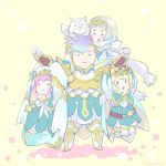 1boy 3girls armor belt blonde_hair blue_dress blue_hair brother_and_sister cape closed_mouth crown dress feh_(fire_emblem_heroes) fire_emblem fire_emblem_heroes fjorm_(fire_emblem_heroes) gloves gunnthra_(fire_emblem) hair_ornament hanging_on_arm hrid_(fire_emblem_heroes) long_dress long_hair long_sleeves multicolored_hair multiple_girls open_mouth pink_hair qumaoto short_hair siblings simple_background sisters smile standing twitter_username veil white_gloves white_hair yellow_background ylgr_(fire_emblem_heroes)