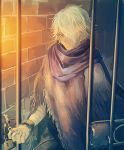 1boy cape e_f_regan826 gloves looking_at_viewer male_focus octopath_traveler scarf short_hair simple_background solo therion_(octopath_traveler) white_hair