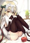1girl ahoge apple bell black_gloves black_legwear blonde_hair capelet commentary commission elbow_gloves fate/grand_order fate_(series) food fruit fur-trimmed_capelet fur_trim gloves hair_ribbon headpiece jeanne_d'arc_(fate)_(all) jeanne_d'arc_alter_santa_lily long_hair looking_at_viewer nakatokung pillow plant potted_plant ribbon sample sitting solo striped striped_ribbon thigh-highs white_capelet yellow_eyes