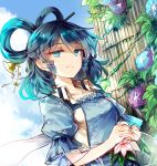 1girl belt blue_dress blue_eyes blue_flower blue_hair blue_sky breasts collarbone day dress drill_hair drill_locks dutch_angle eyebrows_visible_through_hair flower hair_between_eyes hair_ornament hair_rings hair_stick kaku_seiga kutsuki_kai leaf looking_at_viewer medium_breasts outdoors own_hands_together pink_flower puffy_short_sleeves puffy_sleeves purple_flower shawl short_hair short_sleeves sky smile solo touhou upper_body vest white_vest wing_collar
