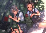 2girls anti-materiel_rifle backpack bag brown_eyes brown_hair closed_eyes dappled_sunlight dreadtie food food_theft gun haribo highres knee_pads kneehighs load_bearing_vest long_hair lying military multiple_girls necktie on_side original plaid plaid_skirt pocky rifle safety_glasses school_uniform short_hair signature silver_hair skirt sleeping sniper_rifle sunlight thigh_pouch thigh_strap tongue tongue_out tree weapon