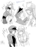 2girls ae-3803 beret blush bou_(maimoca501) breast_pillow flying_sweatdrops hair_over_one_eye hat hataraku_saibou hug injury monochrome multiple_girls neutrophil red_blood_cell smile translation_request u-0001 uniform white_blood_cell yuri