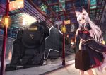 1girl animal_ears detached_sleeves fox_ears fox_tail haik hair_ornament locomotive long_hair looking_at_viewer open_mouth original red_eyes silver_hair steam_locomotive suitcase tail train_station wide_sleeves
