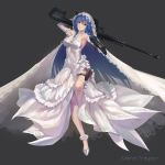 1girl ahoge arm_up armpits bangs bare_shoulders blue_eyes blue_hair breasts bridal_veil character_name commentary_request covered_navel dress dual_wielding elbow_gloves emerald eyebrows_visible_through_hair floating_hair floral_print flower full_body gem gloves grey_background gun_over_shoulder hair_between_eyes halterneck head_tilt highres holding holster leg_up light_smile long_dress long_hair looking_at_viewer maria_traydor medium_breasts outstretched_arm over_shoulder parted_lips pointing pointing_at_viewer pointing_weapon print_dress print_legwear rose rose_print solo standing standing_on_one_leg star_ocean star_ocean_anamnesis star_ocean_till_the_end_of_time thigh-highs thigh_holster ushas veil very_long_hair weapon weapon_over_shoulder wedding_dress white_flower white_footwear white_gloves white_legwear white_rose