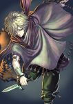 1boy bandage cape grey_eyes male_focus octopath_traveler short_hair solo therion_(octopath_traveler) thief weapon white_hair yamahara