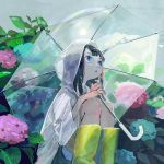 1girl bangs black_hair blue_eyes boots clouds fingernails flower fuwata highres hydrangea leaf open_mouth original painttool_sai pants raincoat rubber_boots see-through sky solo squatting sun transparent_umbrella umbrella yellow_footwear