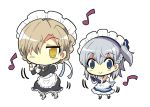 2girls apron azur_lane belchan_(azur_lane) belfast_(azur_lane) blonde_hair blue_eyes boots braid chibi colonel_aki comic commentary dancing detached_collar detached_sleeves french_braid grey_hair hair_between_eyes hair_over_one_eye hair_ribbon looking_at_viewer maid maid_apron maid_headdress multiple_girls musical_note ribbon sheffield_(azur_lane) side_ponytail smile white_background yellow_eyes younger