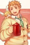 1boy blonde_hair brown_eyes cherub coffee_mug coffee_pot cup cupid_(tokyo_houkago_summoners) gozu_farm green_neckwear highres looking_at_viewer male_focus mug necktie smile teapot tennouji_shin'ya tokyo_houkago_summoners upper_body