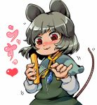 1girl :3 :d animal_ears blush capelet cheese eyebrows_visible_through_hair fingernails food furrowed_eyebrows grey_hair heart ifelt_(tamaki_zutama) jewelry long_sleeves motion_lines mouse_ears mouse_tail nazrin nose_blush open_mouth pendant red_eyes short_hair simple_background smile solo tail tail_raised touhou white_background