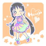 +_+ 1girl :3 asobi_asobase bangs black_eyes black_hair blush boots bow bowtie chibi dress eyebrows_visible_through_hair flower frilled_dress frilled_sleeves frills full_body hand_on_own_face heart honda_hanako karin_(100100) long_hair low_twintails one_eye_closed outstretched_arms ribbon shiny shiny_hair simple_background solo star twintails unicorn unicorn_print very_long_hair
