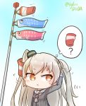1girl amatsukaze_(kantai_collection) arm_up asimo953 bangs black_dress blue_sky blush breasts brown_eyes chibi commentary_request day dress eyebrows_visible_through_hair grey_neckwear hair_tubes hair_tubes_removed headgear highres kantai_collection koinobori long_hair long_sleeves looking_to_the_side motion_lines neckerchief open_mouth outdoors raised_eyebrow sailor_collar sailor_dress short_eyebrows silver_hair sky sleeve_cuffs small_breasts solo sweatdrop thought_bubble twitter_username two_side_up upper_body white_sailor_collar wind wind_lift