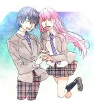 1boy 1girl black_footwear black_hair black_legwear blazer blush closed_eyes collared_shirt commentary_request couple darling_in_the_franxx grey_blazer hand_holding hetero hiro_(darling_in_the_franxx) interlocked_fingers jacket leg_up long_hair necktie open_blazer open_clothes open_jacket open_mouth pants pink_hair sayaendou0103 school_uniform shirt shoes short_hair skirt socks striped_neckwear white_shirt wing_collar zero_two_(darling_in_the_franxx)