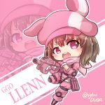 1girl animal_hat asimo953 bangs blush brown_hair bullpup bunny_hat character_name chibi commentary_request copyright_name d: eyebrows_visible_through_hair eyes_visible_through_hair gloves gun hat highres holding holding_gun holding_weapon jacket leg_up llenn_(sao) long_sleeves looking_at_viewer open_mouth outline p-chan_(p-90) p90 pants pink_background pink_eyes pink_gloves pink_hat pink_jacket pink_pants round_teeth short_hair simple_background slit_pupils solo submachine_gun sword_art_online sword_art_online_alternative:_gun_gale_online teeth twitter_username v-shaped_eyebrows weapon white_outline zoom_layer