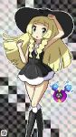 1girl alternate_color alternate_costume black_dress blonde_hair clenched_hands cosmog dress green_eyes hat highres homu_c lillie_(pokemon) long_hair pixel_art pokemon pokemon_(game) pokemon_sm