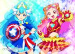 2girls :d avengers blue_eyes blue_hair blush captain_america captain_america_(cosplay) commentary cosplay cowboy_shot cure_ange cure_yell dress earrings elbow_gloves fingerless_gloves gloves glowing hair_ornament hair_ribbon head_wings heart hugtto!_precure iron_man iron_man_(cosplay) jewelry lipstick long_hair looking_at_viewer magical_girl makeup marvel midriff multiple_girls navel nono_hana open_mouth parody pink_eyes pink_hair pom_poms precure ribbon shield shiny shiny_clothes shiny_hair shiny_skin skirt smile sparkle star superhero ueyama_michirou very_long_hair weapon wrist_cuffs yakushiji_saaya