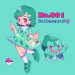 1girl aqua_background bag bulbasaur character_name dress fang full_body gen_1_pokemon green_footwear green_hair hair_ornament leg_up mameeekueya medium_hair moemon open_mouth personification poke_ball pokemon pokemon_(creature) pokemon_number puffy_short_sleeves puffy_sleeves red_eyes shoes short_hair short_sleeves simple_background smile standing zipper