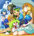 1boy 3girls absurdres alolan_raichu blonde_hair blue_hair blue_sky blush closed_eyes clouds cosmog dark_skin dress green_eyes green_hair happy hat hau_(pokemon) highres lillie_(pokemon) mao_(pokemon) multiple_girls pokemon pokemon_(game) pokemon_sm ponytail popplio sitting sky smile steenee suiren_(pokemon) trial_captain