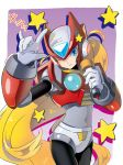 1boy androgynous android blonde_hair blue_eyes capcom covered_navel cowboy_shot gloves hand_gesture head_tilt helmet highres horns_pose long_hair male_focus one_eye_closed robot rockman rockman_x simple_background solo star sumomo very_long_hair white_gloves zero_(rockman)