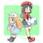 2girls android bag black_eyes black_hair black_legwear black_tank_top blue_dress blue_eyes blush boots box bucket cabbie_hat closed_mouth clothes_writing cosplay crossover dress gloves hat hataraku_saibou jacket karin_(100100) long_hair messenger_bag multiple_girls musical_note nichijou one_eye_closed open_clothes open_jacket open_mouth platelet_(hataraku_saibou) platelet_(hataraku_saibou)_(cosplay) professor_shinonome red_blood_cell_(hatataku_saibou) red_blood_cell_(hatataku_saibou)_(cosplay) red_hat red_jacket rubber_boots shinonome_nano short_hair short_sleeves shorts shoulder_bag simple_background sleeves_rolled_up smile standing sweatdrop tank_top white_gloves white_hat winding_key