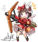 /\/\/\ 1girl :d artist_name blush bow brown_hair bunny_hair_ornament chibi chinese_commentary commentary_request fatkewell girls_frontline gundam gundam_tekketsu_no_orphans hair_bow hair_ornament m99_(girls_frontline) open_mouth railgun short_hair simple_background smile violet_eyes white_background