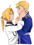 2boys :d alphonse_elric alternate_costume amestris_military_uniform antenna_hair blonde_hair brothers cowboy_shot crying crying_with_eyes_open edward_elric eye_contact eyelashes frown fullmetal_alchemist hands_on_another's_face height_difference highres long_sleeves looking_at_another male_focus military military_uniform multiple_boys open_mouth ponytail profile sad shirt short_hair siblings simple_background smile standing tears uniform upper_body white_background white_shirt yellow_eyes
