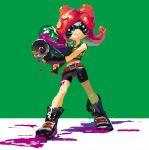 bike_shorts brown_belt fuwata goggles green_background octoling octopus octoshot_(splatoon) paint redhead shoes simple_background sneakers splatoon splatoon_1 takozonesu tentacle_hair violet_eyes