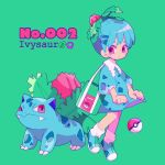 1girl aqua_hair bag character_name dress fangs full_body gen_1_pokemon green_background hair_ornament ivysaur leaf leg_up mameeekueya moemon personification poke_ball pokemon pokemon_(creature) puffy_short_sleeves puffy_sleeves red_eyes shoes short_hair short_sleeves simple_background standing zipper
