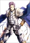 1boy armor cape commentary_request cross fate/grand_order fate_(series) gauntlets hand_on_hip holding holding_sword holding_weapon kei-suwabe lancelot_(fate/grand_order) looking_at_viewer plate_armor purple_hair shoulder_armor smile solo spiky_hair sword twitter_username violet_eyes weapon white_background