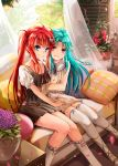 2girls arm_hug bare_shoulders blue_eyes blue_hair blush bow braid breasts collarbone couch curtains cushion dress falling_petals flower flower_pot hair_bow hair_ornament hairclip hand_on_another's_thigh highres hinabita hopper hug indoors long_hair looking_at_viewer medium_breasts multiple_girls orange_eyes petals pillow puffy_sleeves red_eyes red_ribbon redhead ribbon rose shinonome_kokona shinonome_natsuhi siblings sisters sleeveless sleeveless_dress smile thigh-highs tree twins twintails vase white_bow white_dress white_footwear window