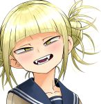 1girl bangs blonde_hair blunt_bangs boku_no_hero_academia commentary double_bun evolvingmonkey eyebrows_visible_through_hair face fangs highres light_smile looking_at_viewer open_mouth school_uniform serafuku simple_background slit_pupils solo toga_himiko white_background yellow_eyes