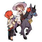 1boy 1girl blonde_hair bracelet closed_eyes fire_emblem fire_emblem:_three_houses fire_emblem_heroes flower haconeri hair_flower hair_ornament hat horse horseback_riding jewelry long_hair low_ponytail male_swimwear mercedes_von_martritz open_mouth red_eyes redhead riding shirtless short_hair simple_background sun_hat sunglasses swim_trunks swimwear sylvain_jose_gautier white_background white_headwear