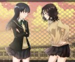 2girls amagami ayatsuji_tsukasa black_hair black_skirt blazer bow cardigan chain-link_fence commentary_request cowboy_shot crossed_arms dusk face-to-face facing_another fence from_side glaring green_bow grey_eyes hands_on_hips highres himaneko jacket leaning_forward letterboxed long_hair looking_at_another messy_hair multiple_girls open_clothes open_jacket red_sky rooftop school school_uniform skirt sky tanamachi_kaoru wind