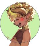1boy aureolin31 bare_shoulders blonde_hair bodypaint closed_eyes crop_top dark_skin fang hair_between_eyes highres horns laughing multicolored multicolored_background nose original pointy_ears portrait profile scales short_hair signature sleeveless smile solo upper_body visible_ears