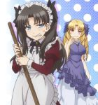 2girls angry black_hair blonde_hair crying crying_with_anger crying_with_eyes_open dress drill_hair fate/hollow_ataraxia fate/kaleid_liner_prisma_illya fate/stay_night fate/stay_night_unlimited_blade_works fate_(series) hair_ribbon long_hair luviagelita_edelfelt maid maid_apron maid_headdress multiple_girls ribbon tears tohsaka_rin twintails