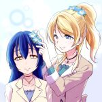 2girls ayase_eli blonde_hair blue_eyes blue_hair blush commentary_request flower hair_between_eyes hair_flower hair_ornament jewelry long_hair love_live! love_live!_school_idol_festival love_live!_school_idol_project multiple_girls necklace ponytail smile sonoda_umi urutsu_sahari yellow_eyes