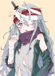 1girl bandage bandaged_arm bandaged_head bandages blush brown_eyes combat_knife commentary g11_(girls_frontline) girls_frontline grey_hair knife knife_in_head long_hair looking_at_viewer parted_lips signature simple_background solo torn_clothes tosyeo upper_body weapon